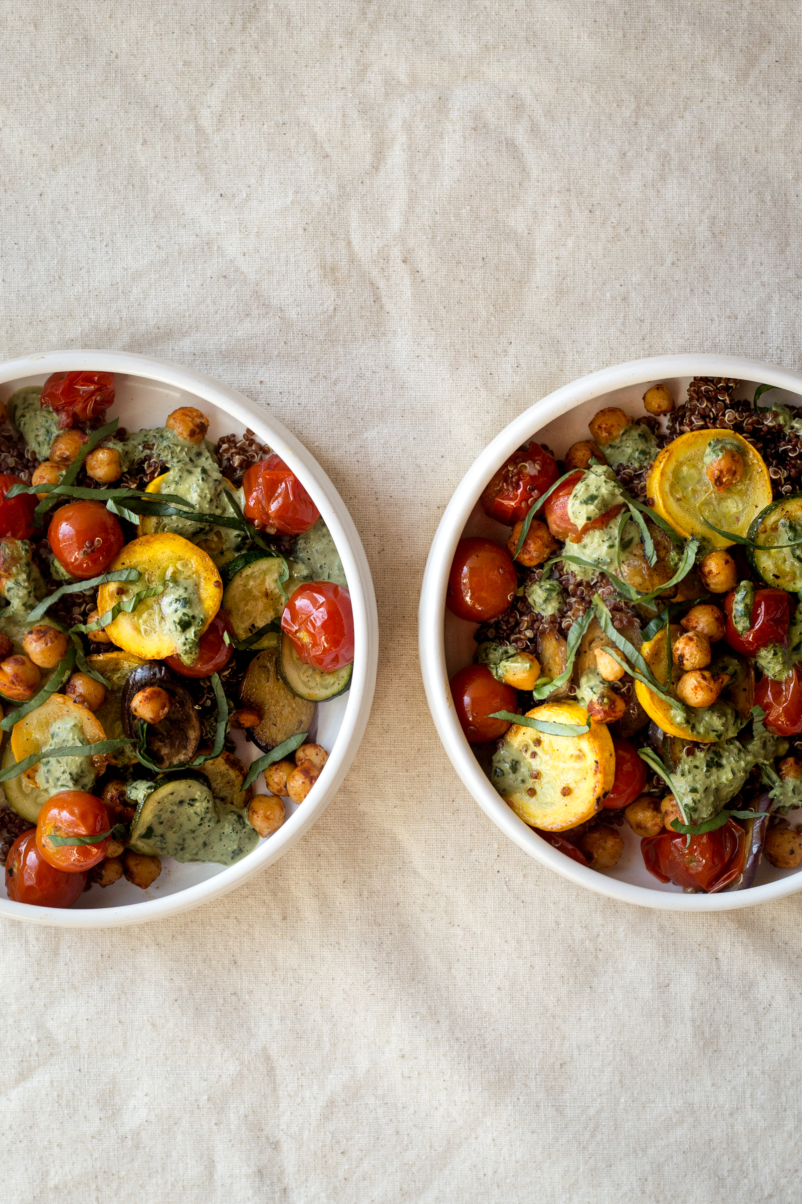 Farm Stand Summer Vegetables Bowls with Herbed Tahini Sauce
