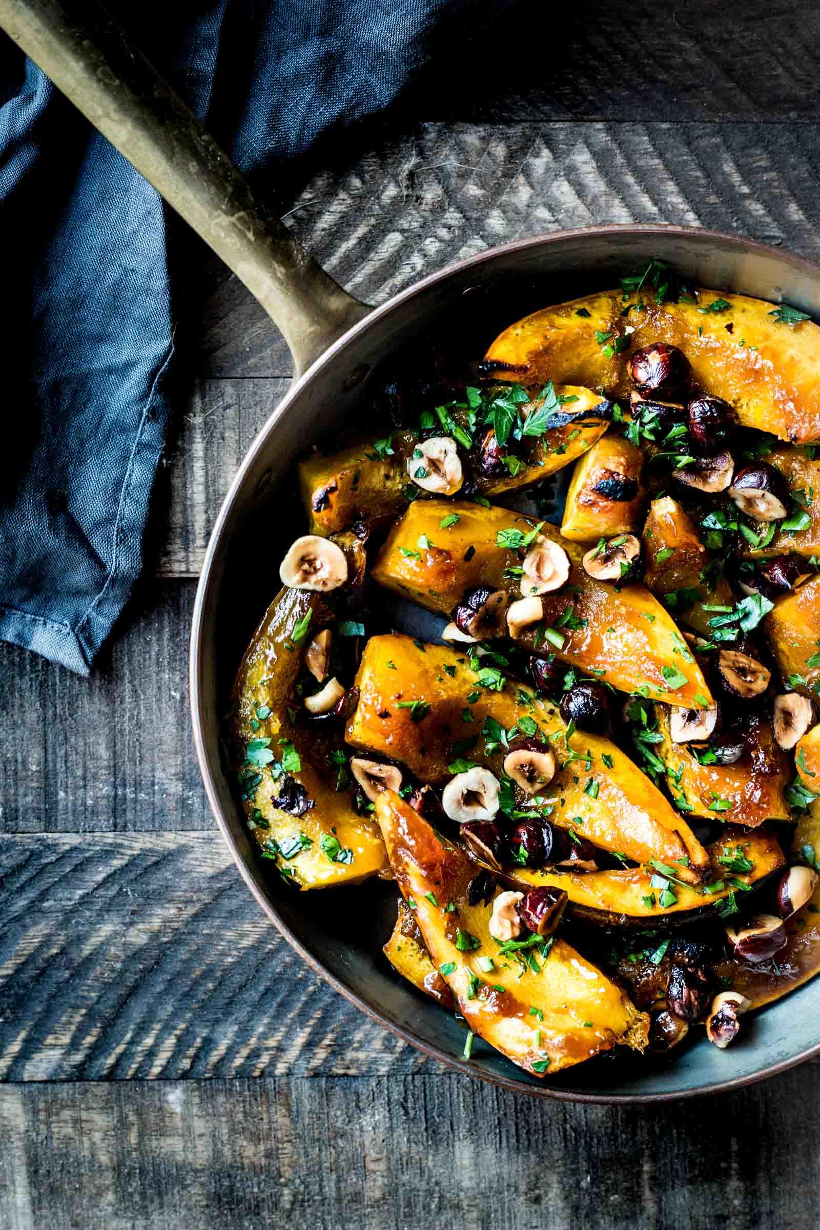 Maple & Cayenne Roasted Acorn Squash   (Use the Sweet Potato Squash for this recipe)