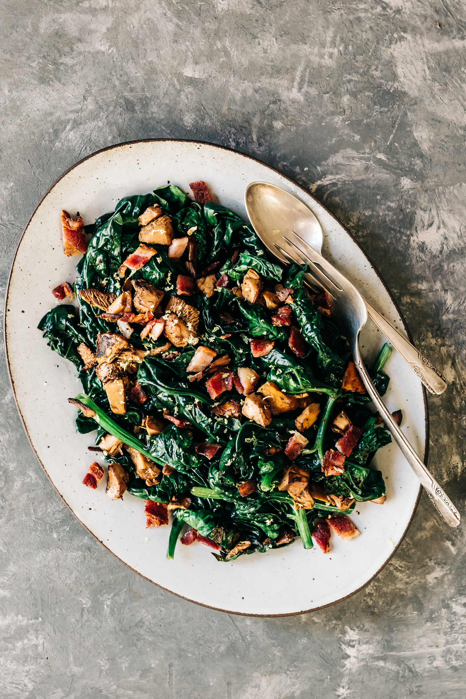 Wilted Spinach with Wild Mushrooms & Bacon