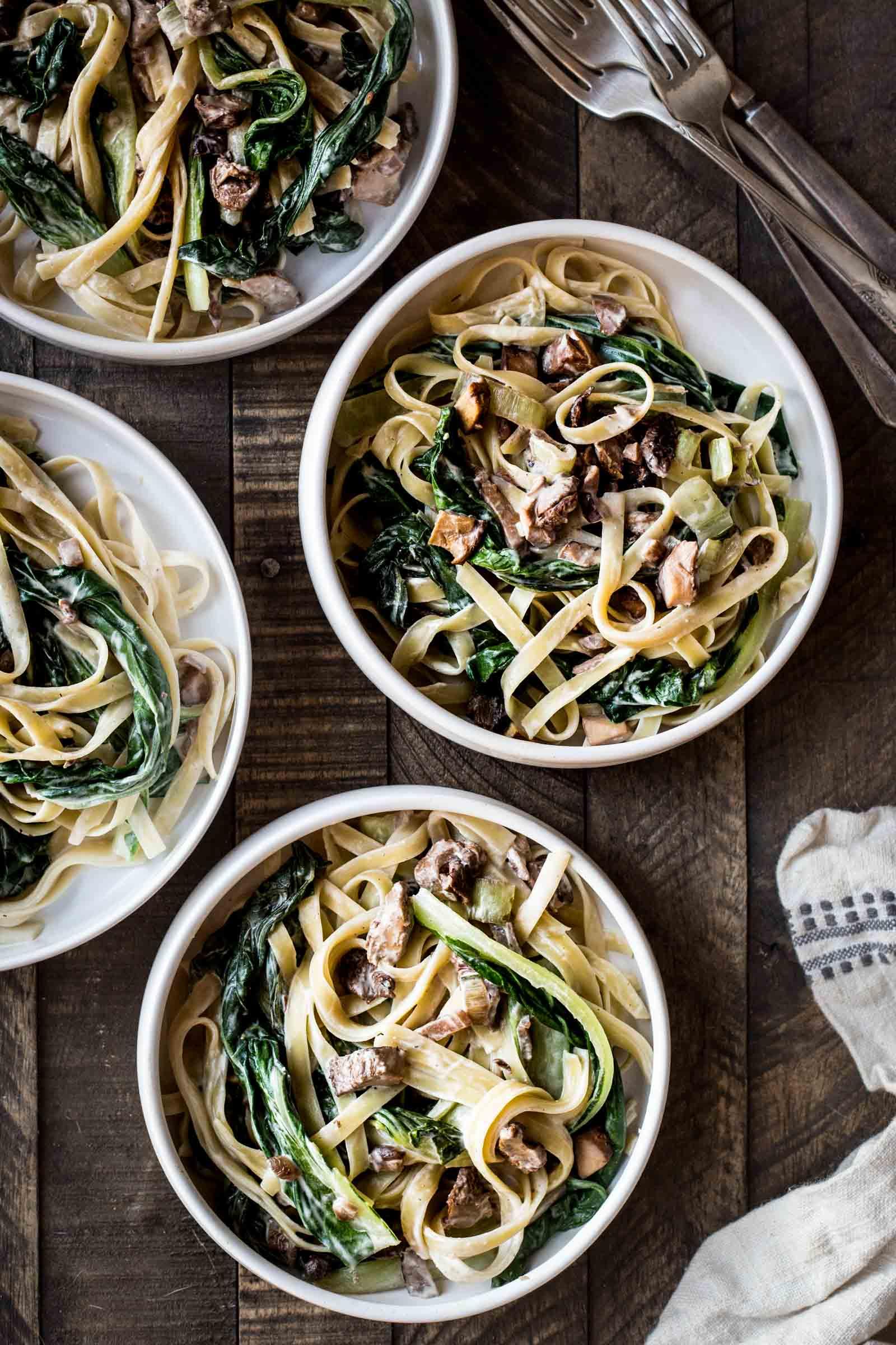 Wild Mushroom & Bok Choy Pasta with Miso Sauce