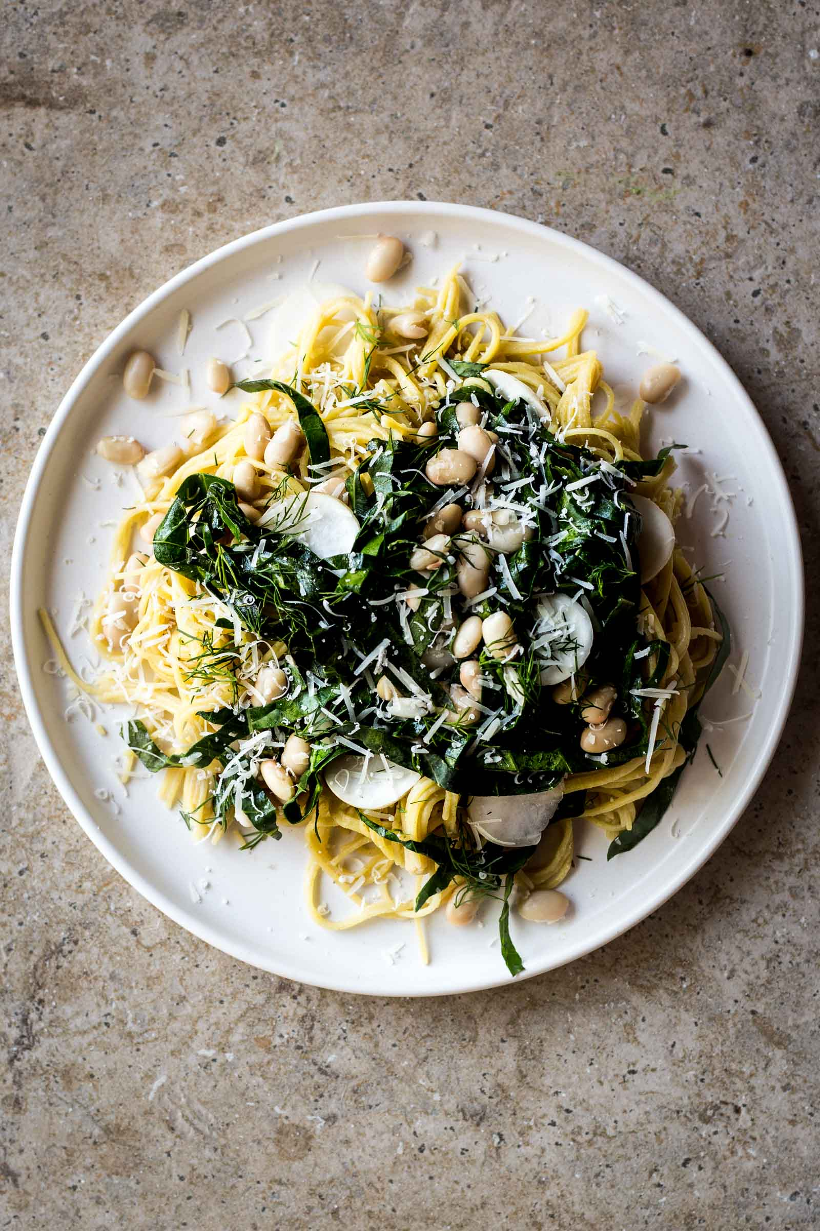 White Bean and Collard Green Spaghetti with Lemon and Turnips