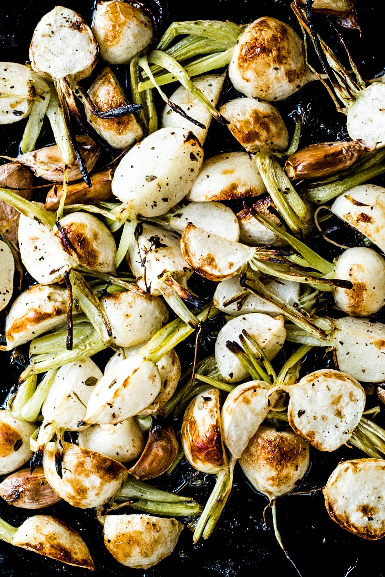 Garlic & Butter Roasted Turnips   (sub garlic scapes for cloves)
