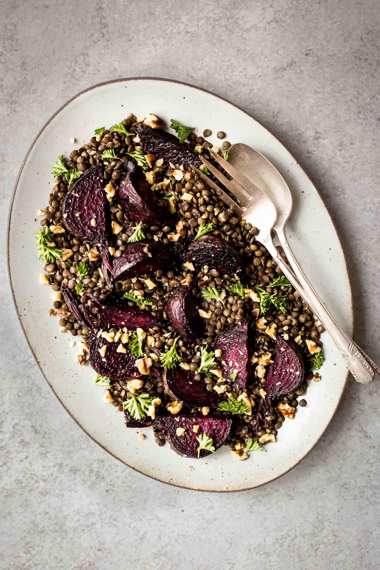 Beet & Walnut Lentil Salad
