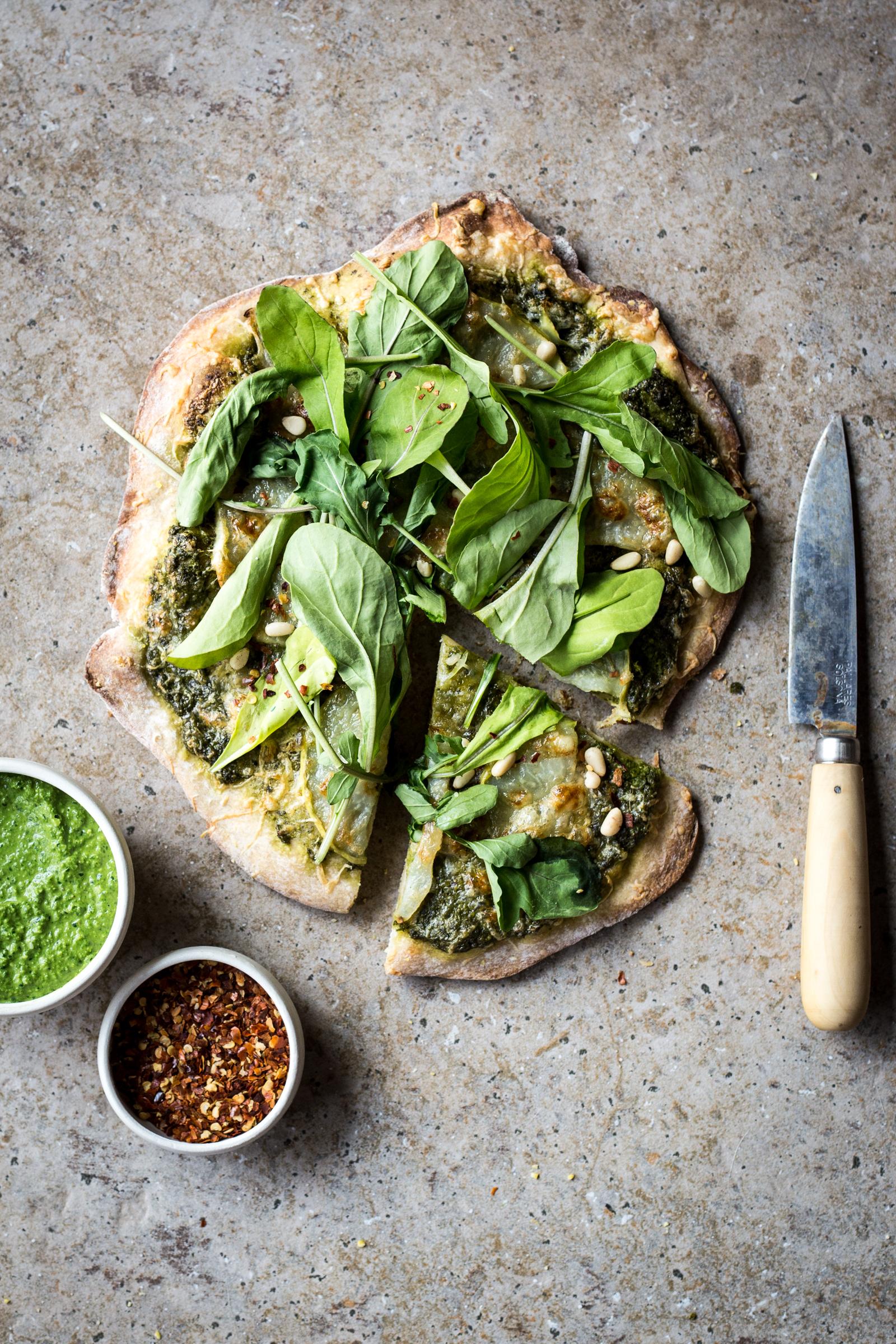 Kohlrabi and Green Olive Pesto Pizza