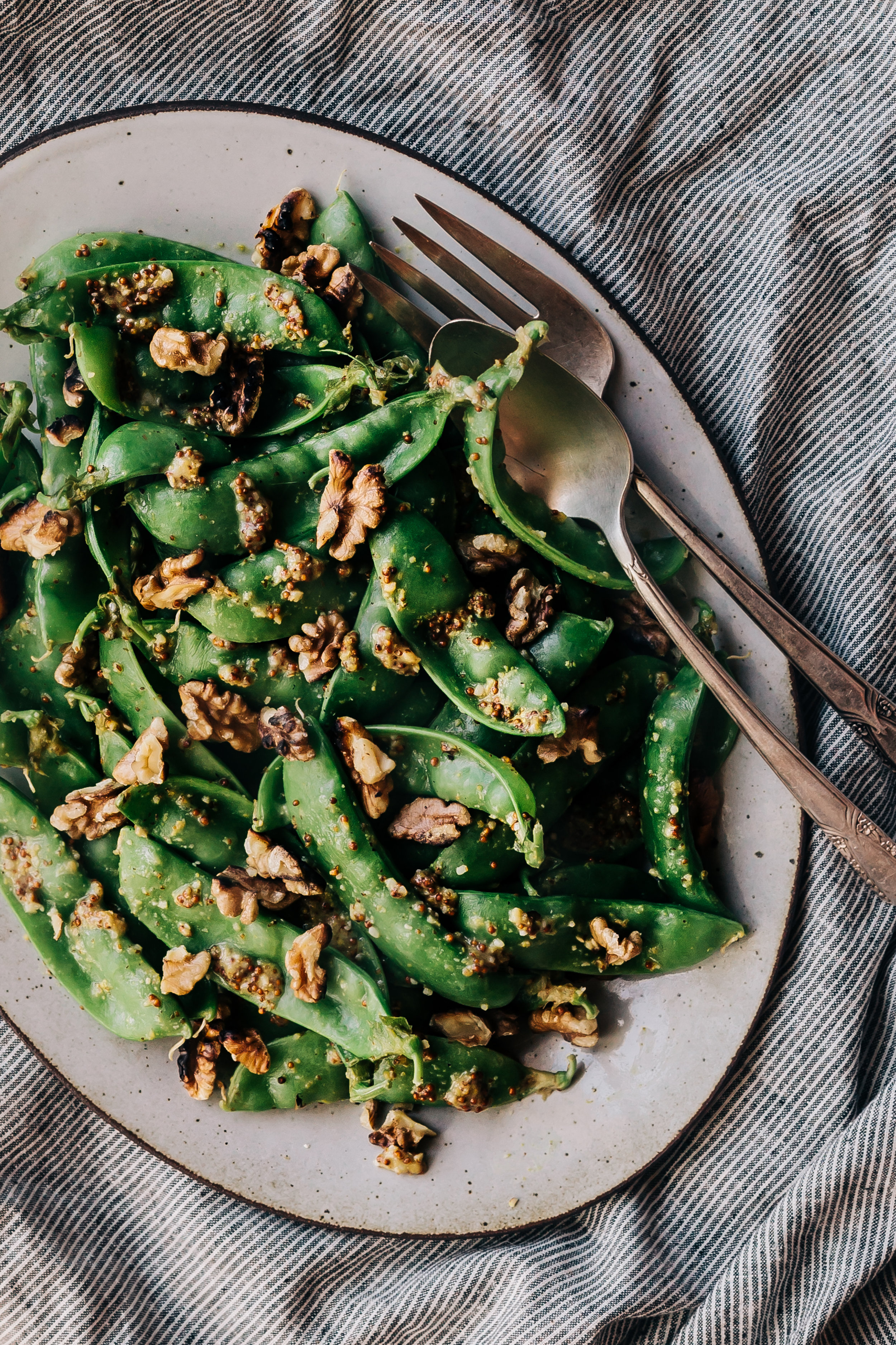 Miso Mustard Snow Peas with Toasted Walnuts