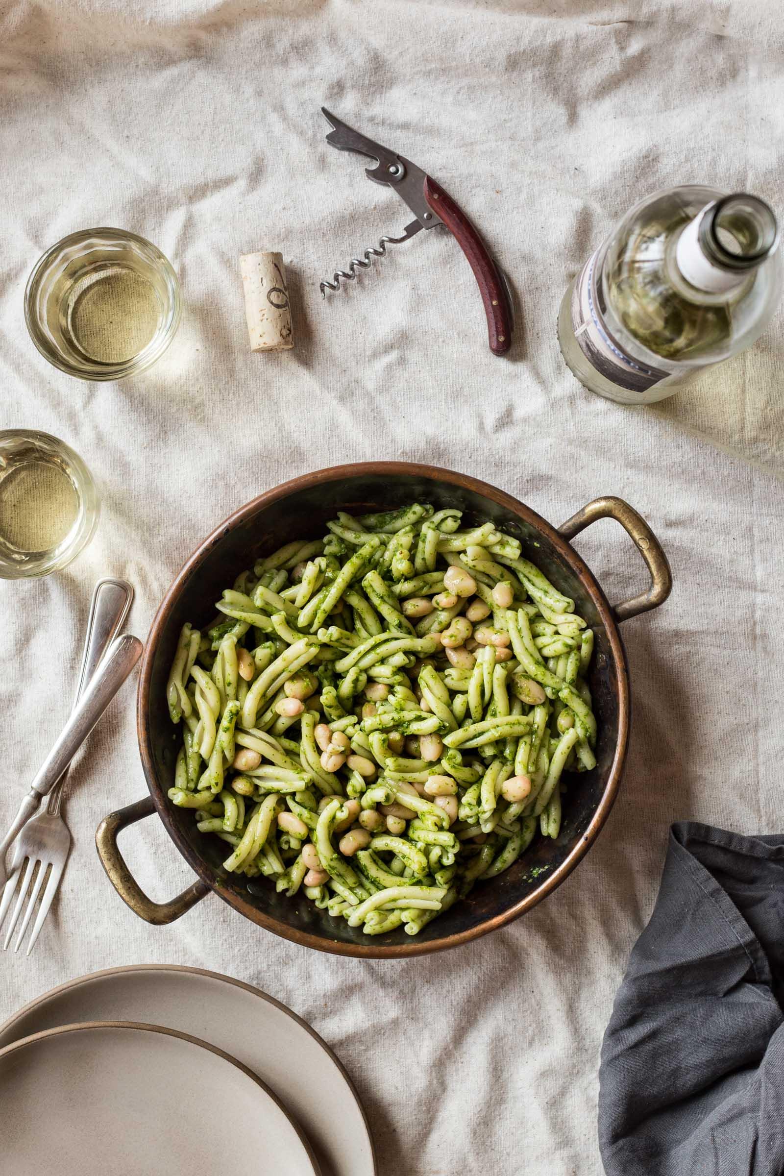 Swiss Chard Pesto Pasta with White Beans & Almonds