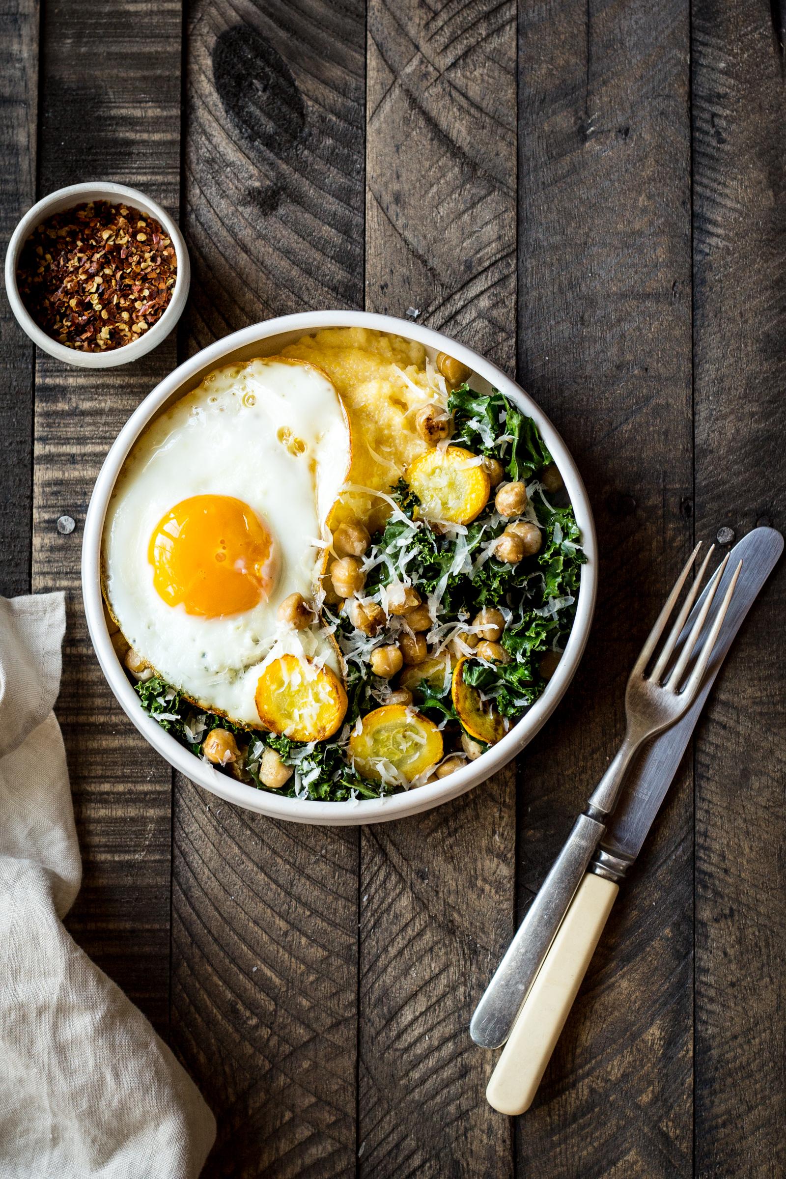 Polenta Bowls with Garlicky Summer Squash and Kale