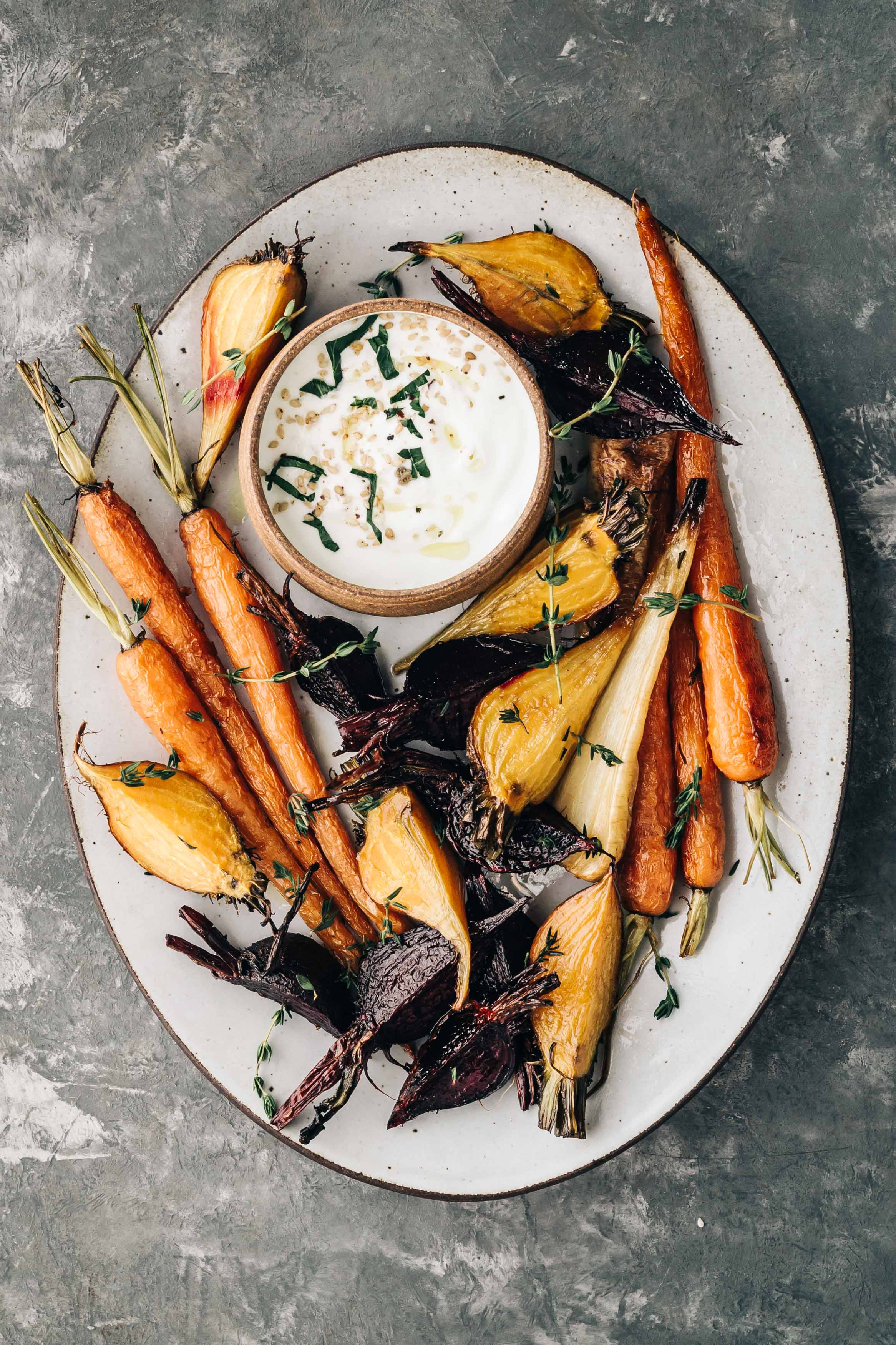 Roasted Beets and Carrots with Miso-Yogurt