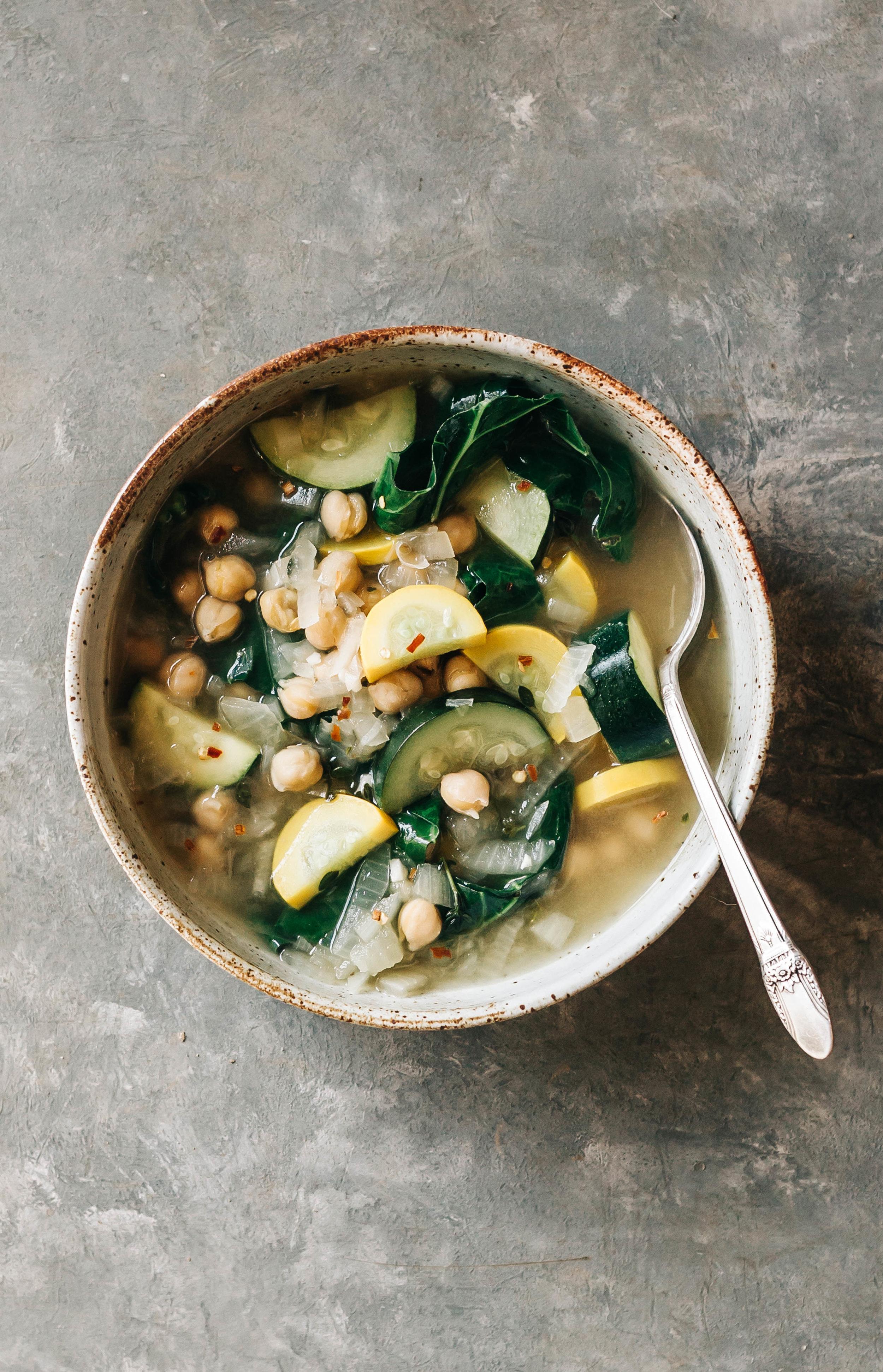 Zucchini Swiss Chard & Chickpea Stew