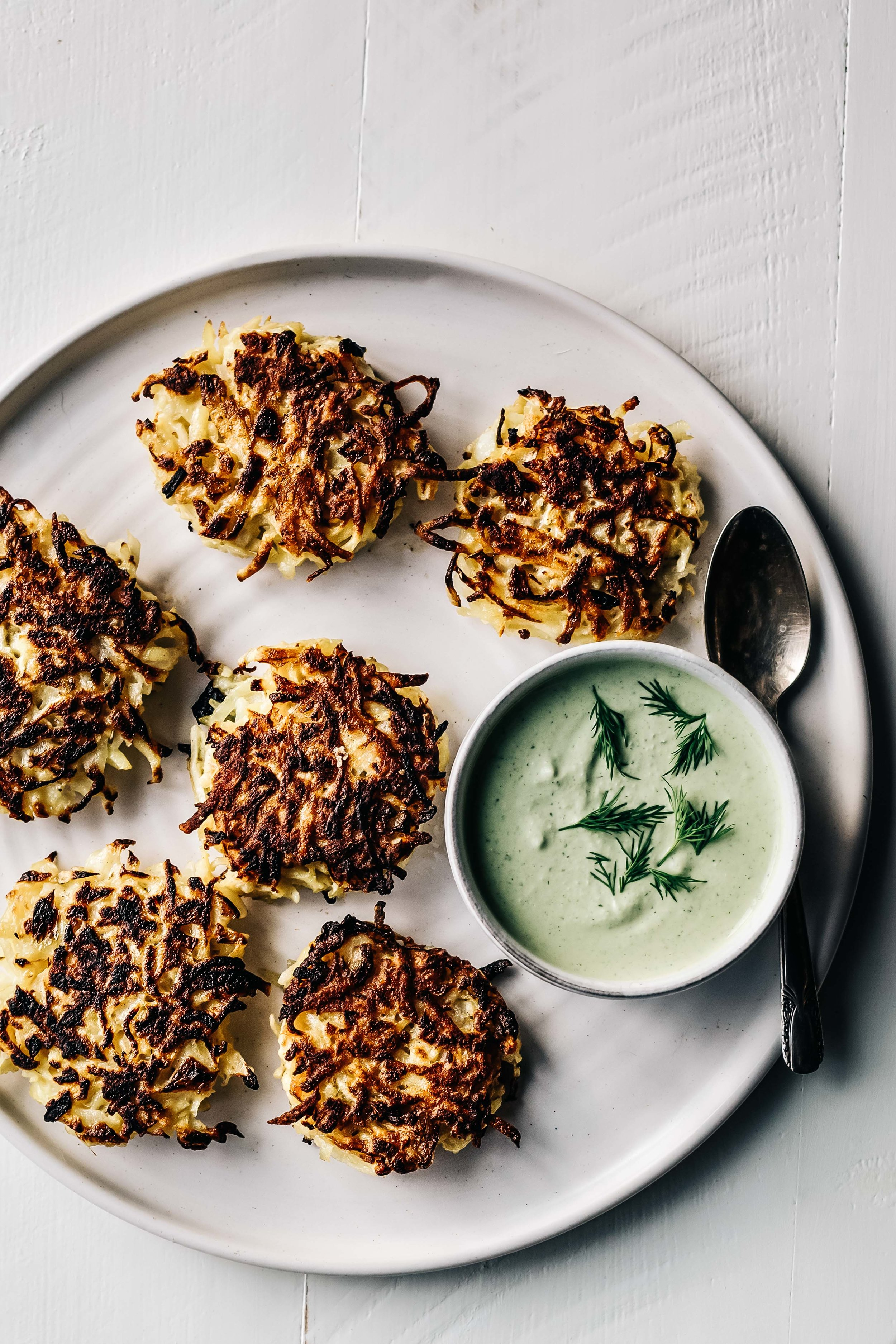 Kohlrabi Fritters with Herbed Cashew Sauce