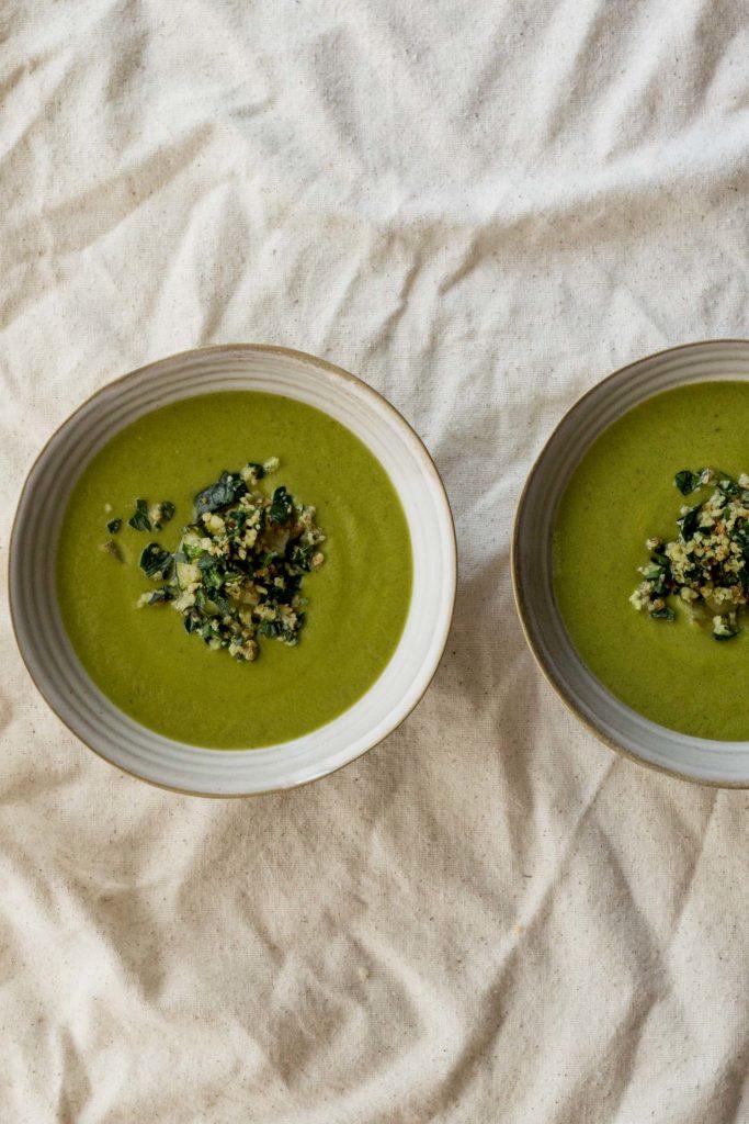 Zucchini & Za'atar Soup with Almond Gremolata