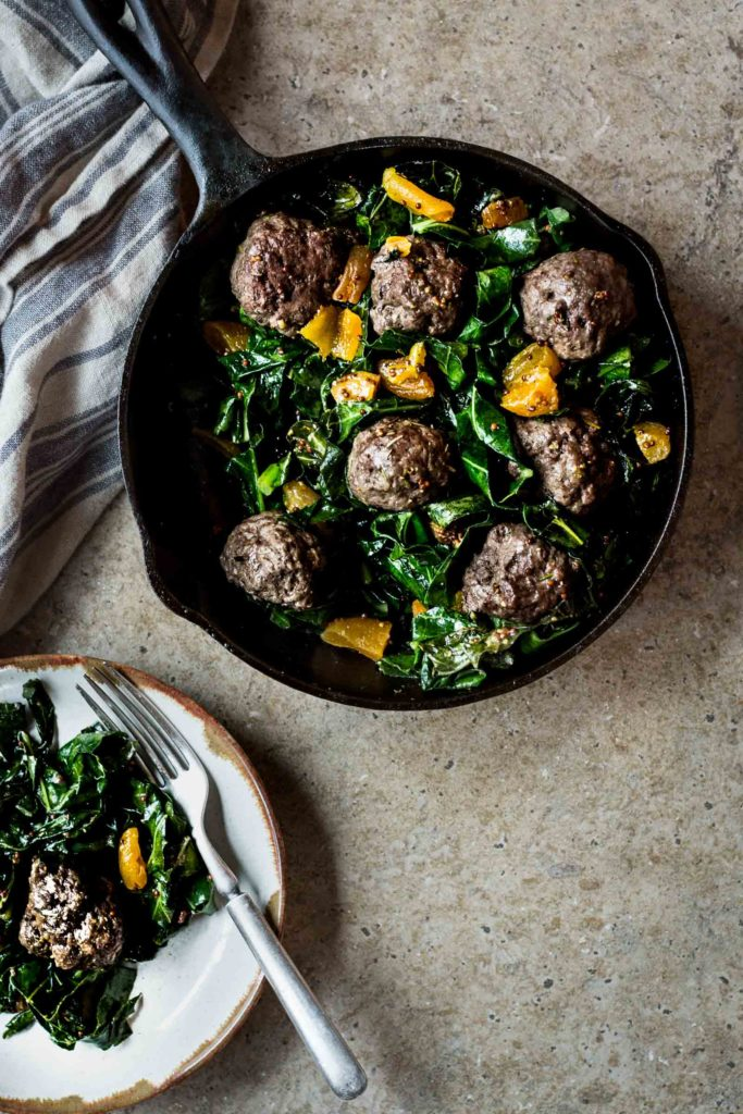 Farm Stand Meatballs with Collard Greens
