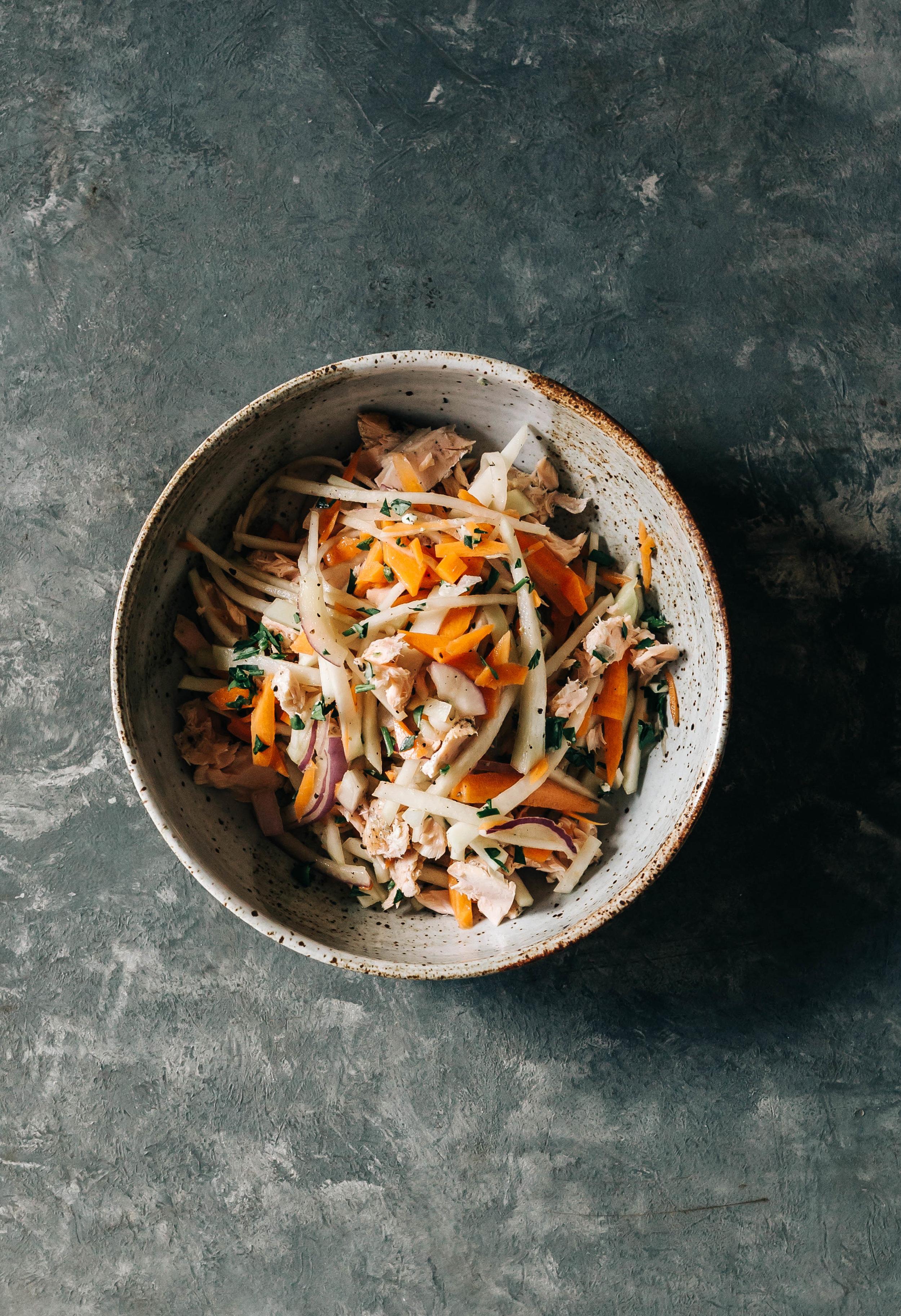 Kohlrabi and Carrot Slaw with Smoked Tuna