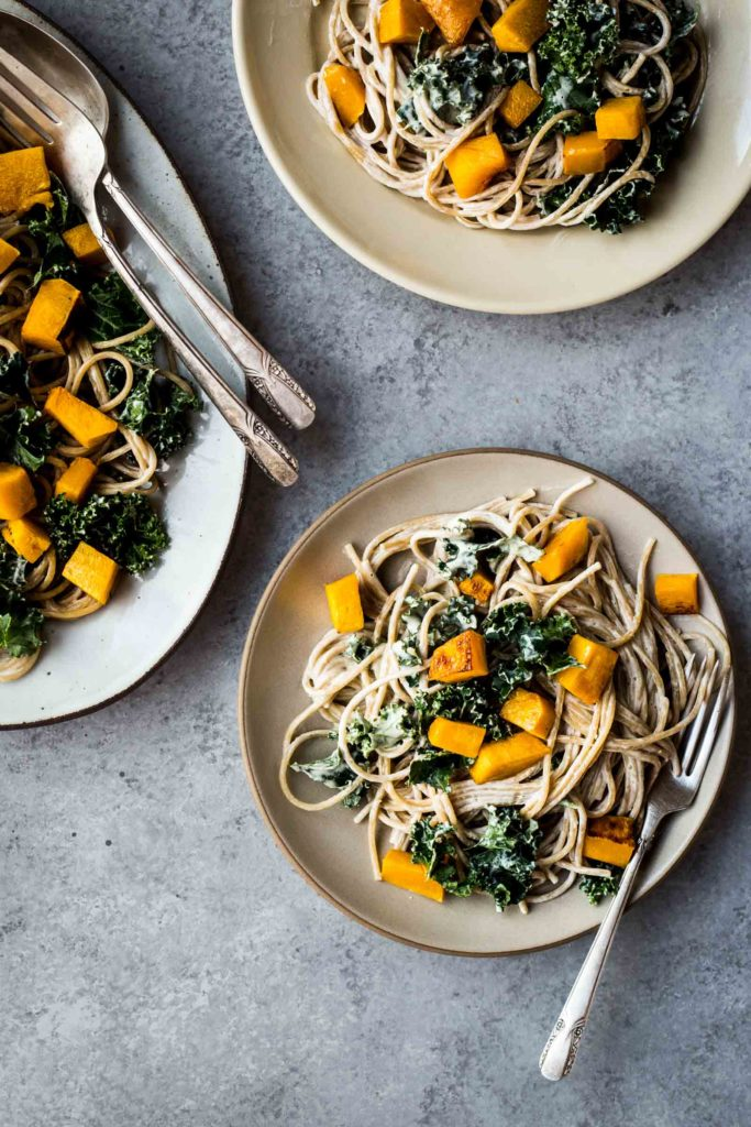 Winter Squash Pasta with White Wine Cashew Cream Sauce   (use spinach or bok choy in place of the kale)