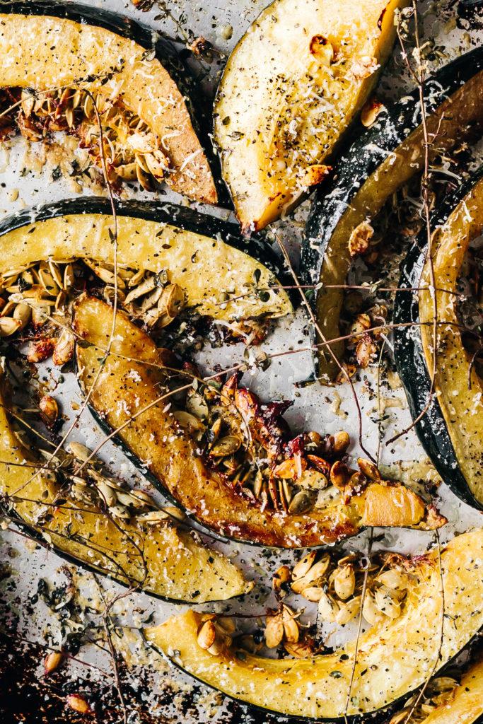 Garlic Parmasan Roasted Acorn Squash
