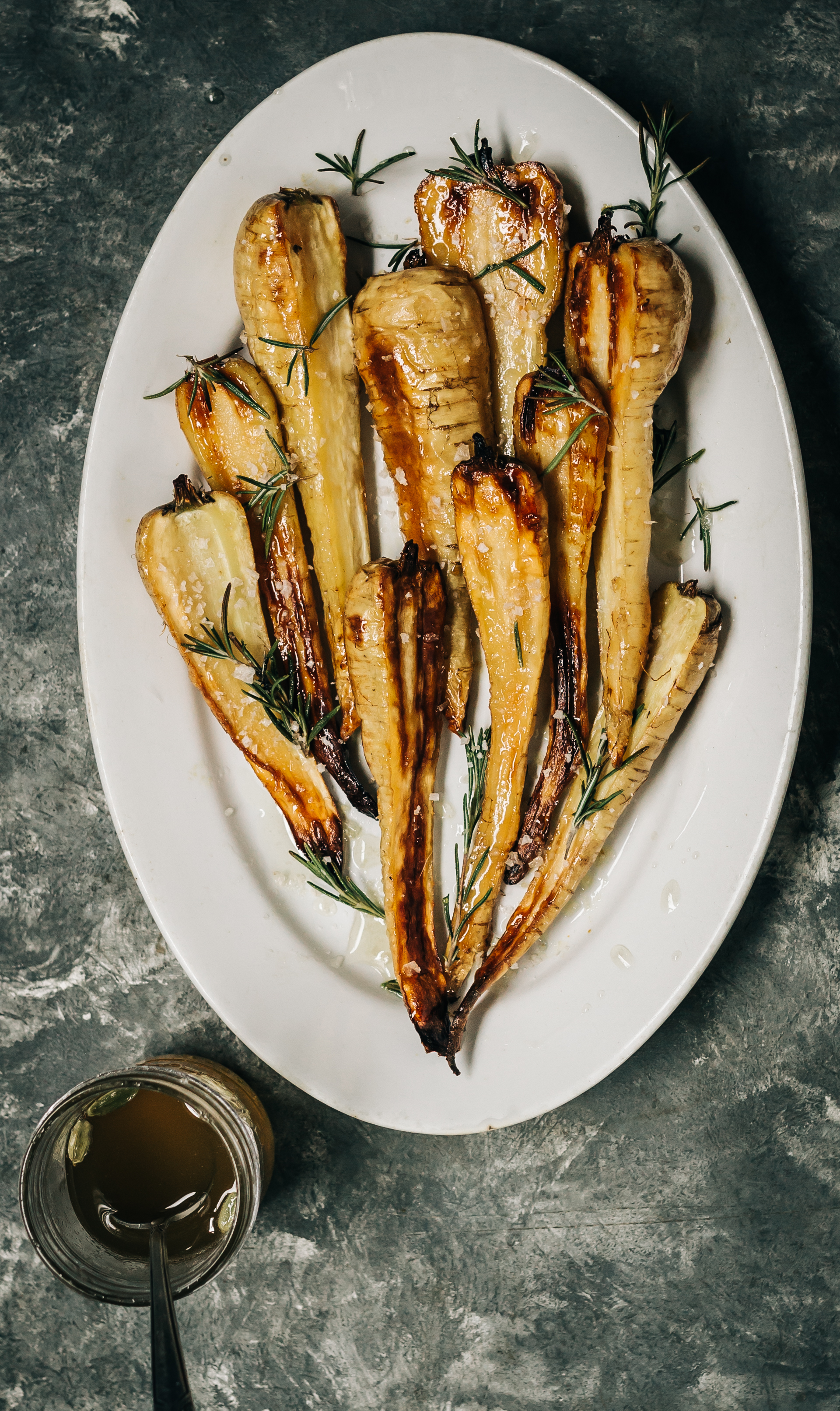 Honey and Cardamom Glazed Parsnips with Rosemary and Sea Salt