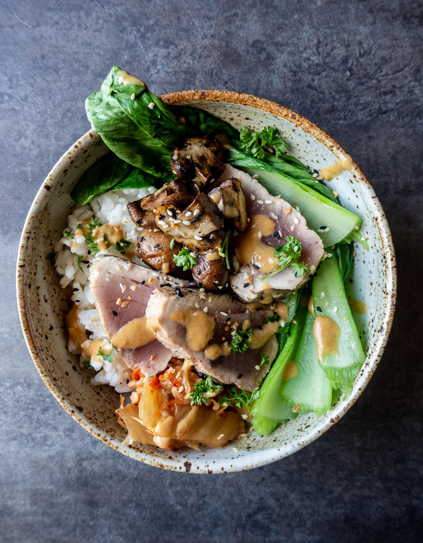 Albacore Tuna Bowls with Kimchi Miso Sauce and Bok Choy