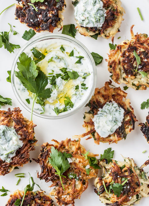 Parsnip Fritters with Garlic Herb Yogurt Dip