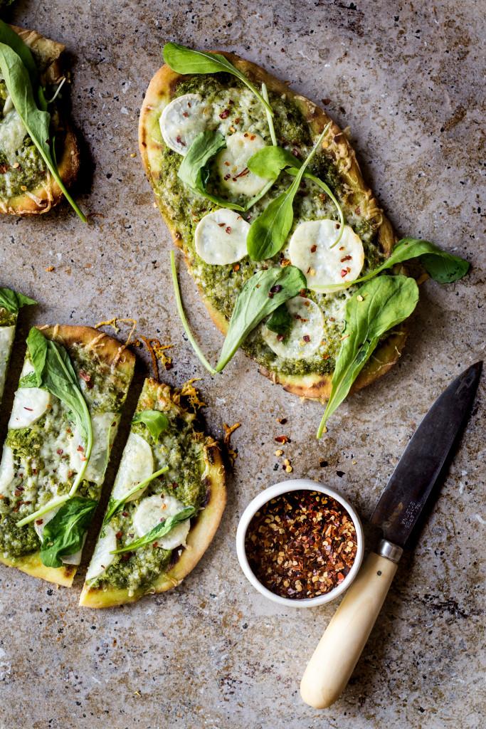 Turnip and Turnip Green Pesto Pizza