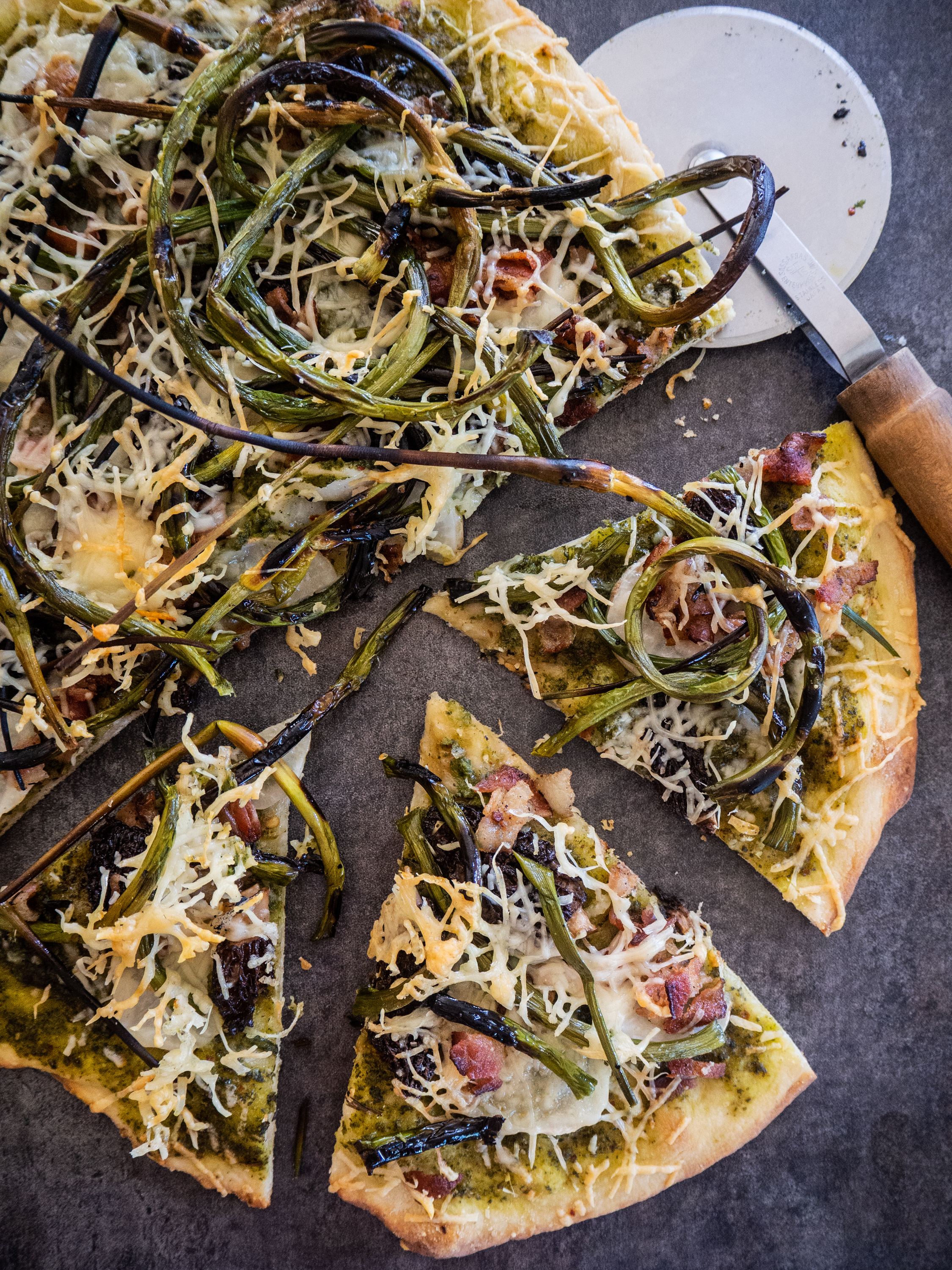 Garlic Scape and Morel Mushroom Pizza with Turnips and Bacon