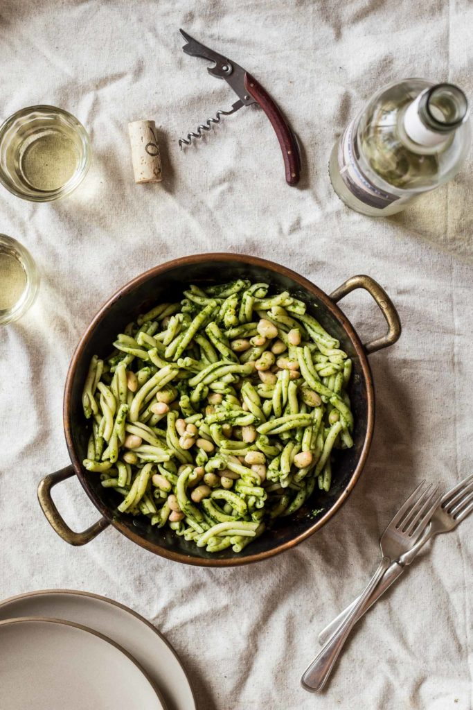 Swiss Chard Pesto Pasta with White Beans and Almonds