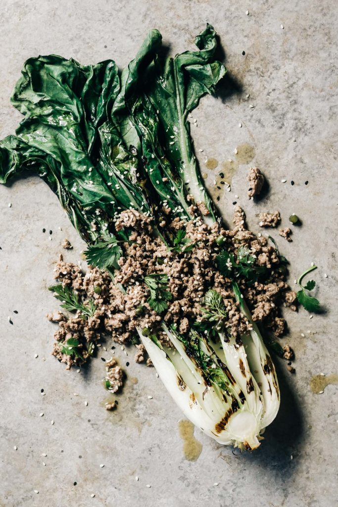 Sesame Ginger Beef and Grilled Bok Choy Salad