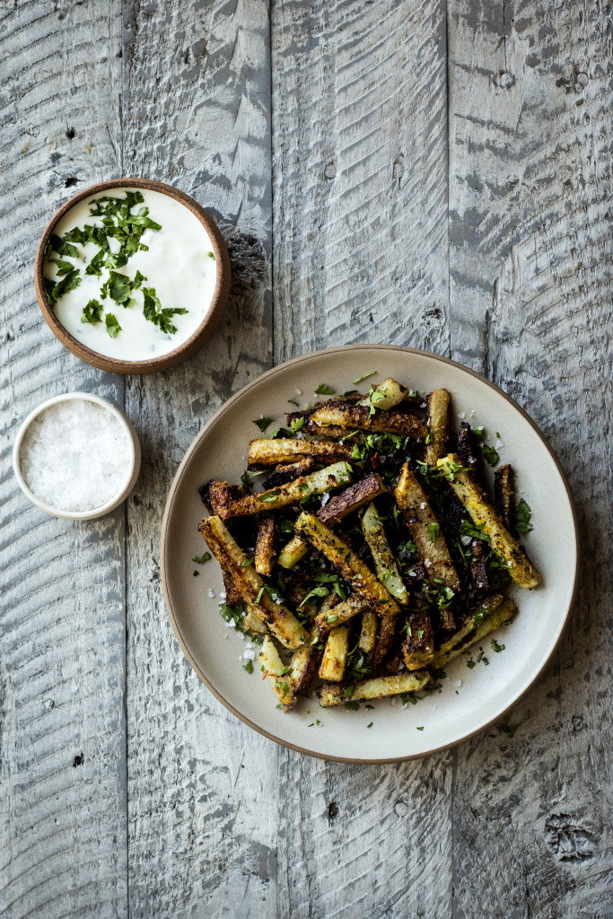 Curried Kohlrabi Fries with Yogurt Sauce