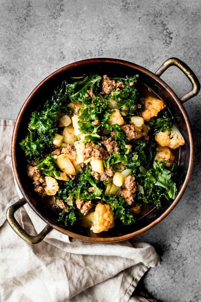 Kale and Chorizo Stew   (substitute the cauliflower for chopped up kohlrabi)