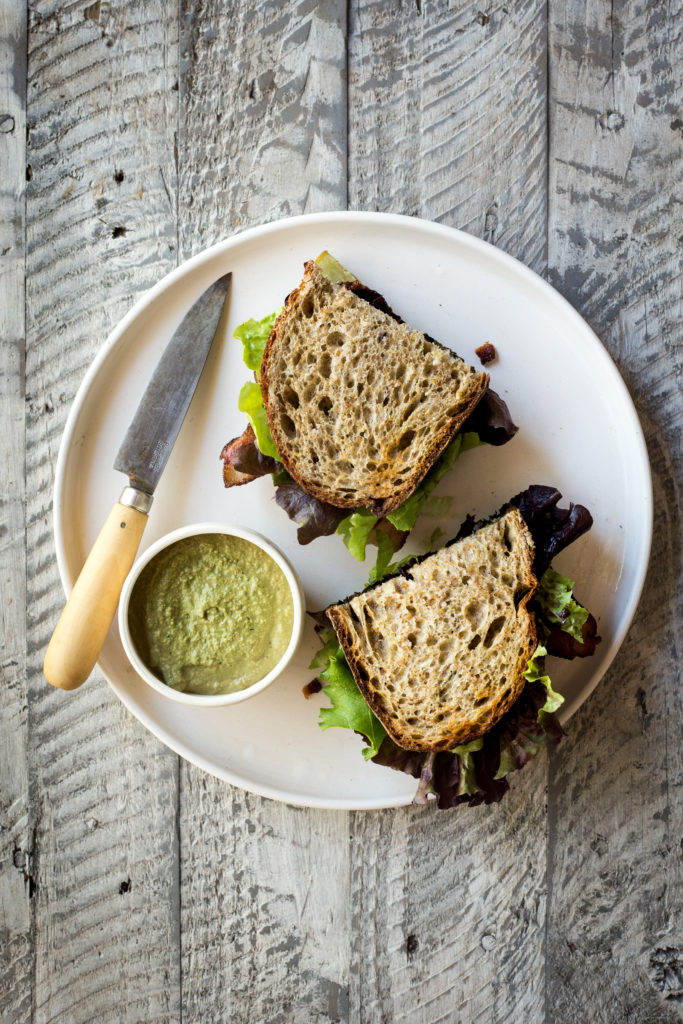 The BLK Sandwich (AKA— Bacon, Lettuce & Kohlrabi) with Cashew Herb Dipping Sauce