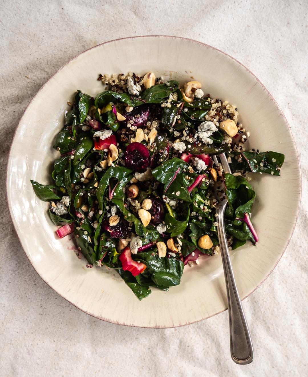 Chard, Cherry & Hazelnut Grain Salad