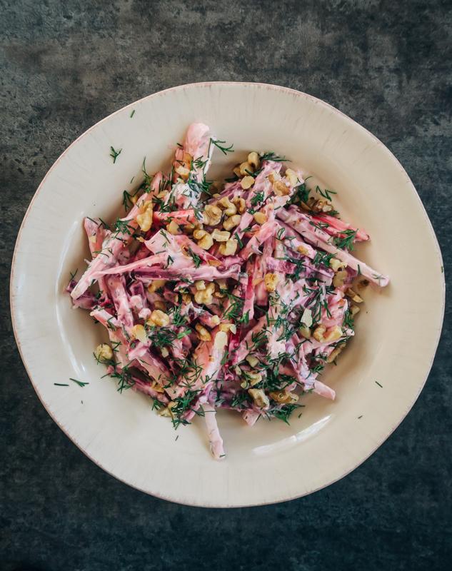 Kohlrabi & Beet Salad with Yogurt and Dill