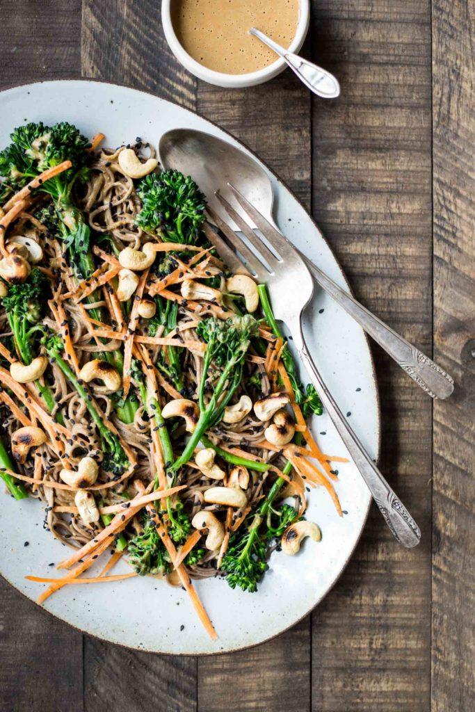 Creamy Cashew & Ginger Soba Noodles with Broccoli & Carrots