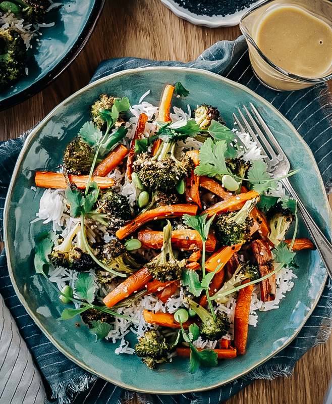 Roasted Broccoli & Carrot Salad with Miso Ginger Sauce