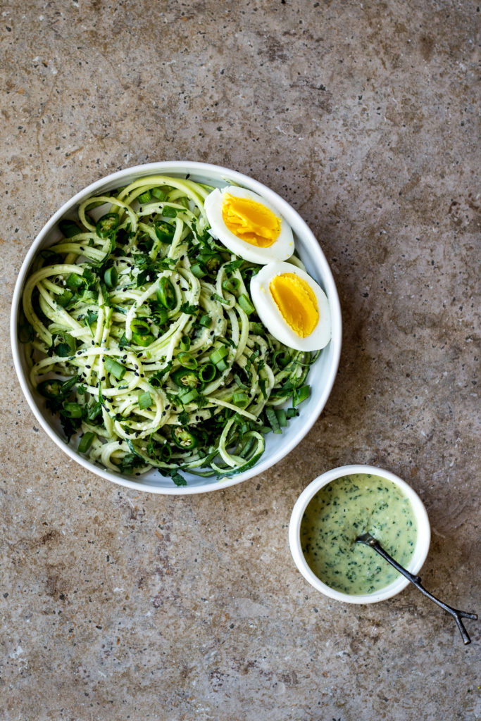 Zucchini Noodles with Green Chili Miso Pesto   (this is SO damn delicious and refreshing!)