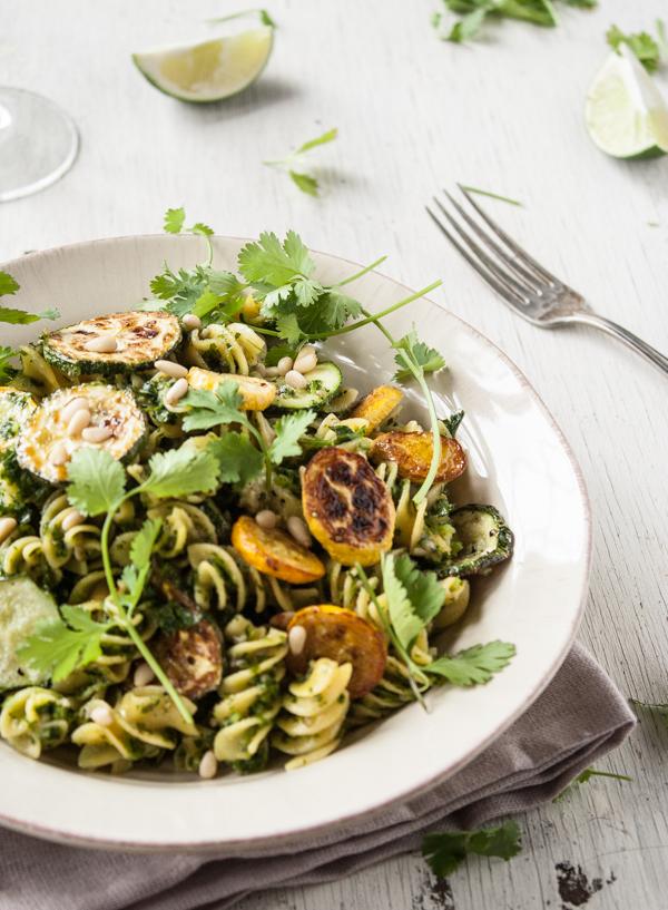 Roasted Summer Squash Pasta with Cilantro-Lime Pesto