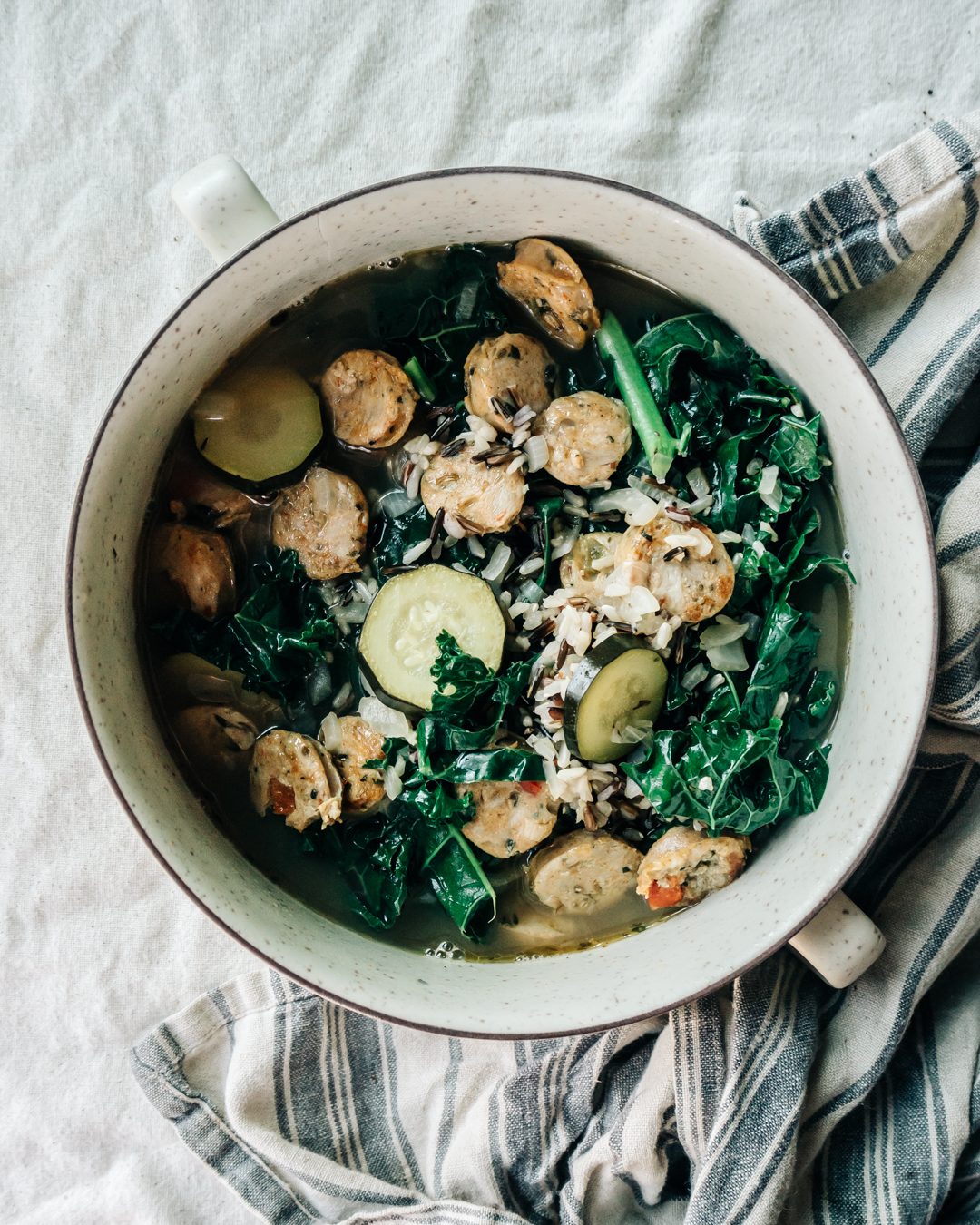 Zucchini, Kale, Sausage & Wild Rice Soup with Fresh Garden Herbs