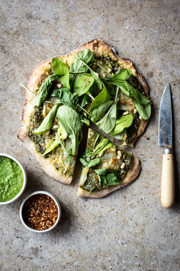 Kohlrabi and Green Olive Pesto Pizza