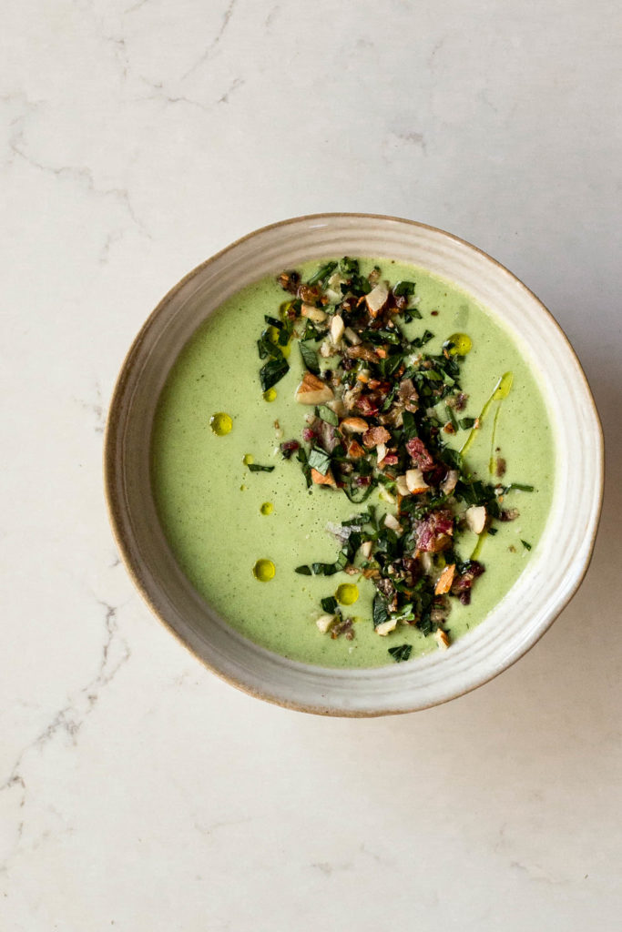 Cucumber Soup with Bacon Gremolata