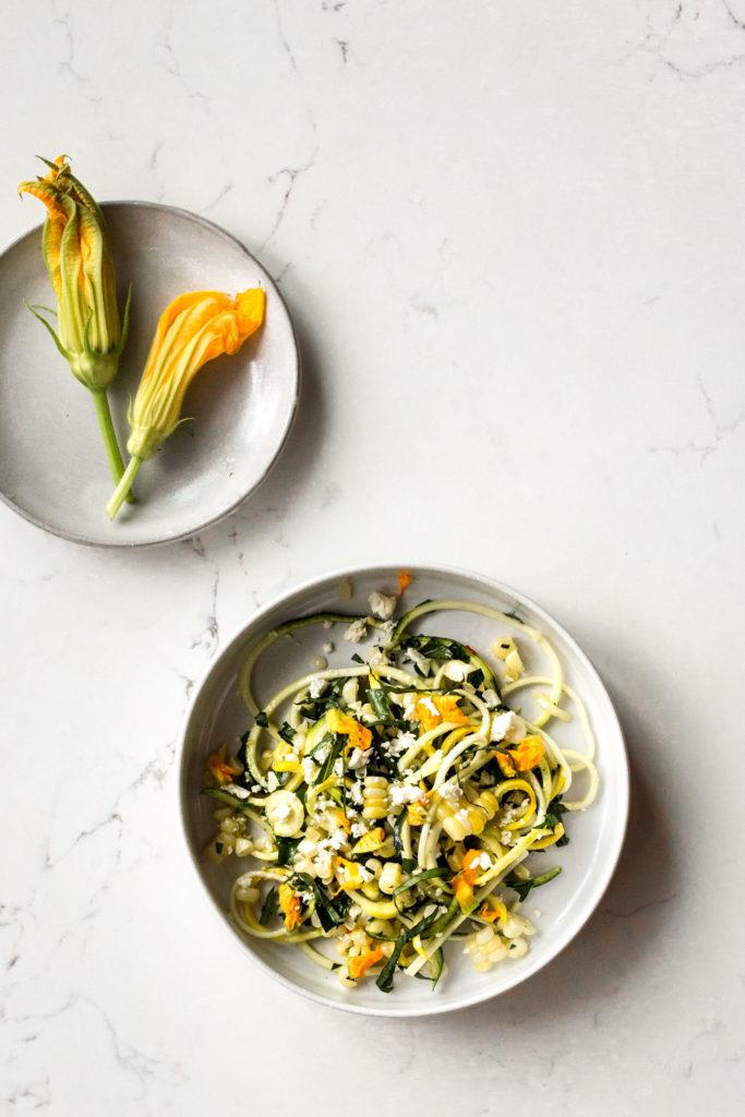 Zucchini Salad with Corn, Squash Blossoms and Feta