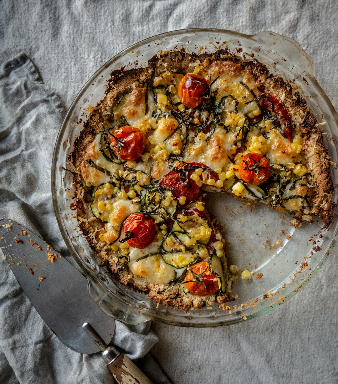 Tomato, Zucchini and Corn Pie with Almond Flour Crust