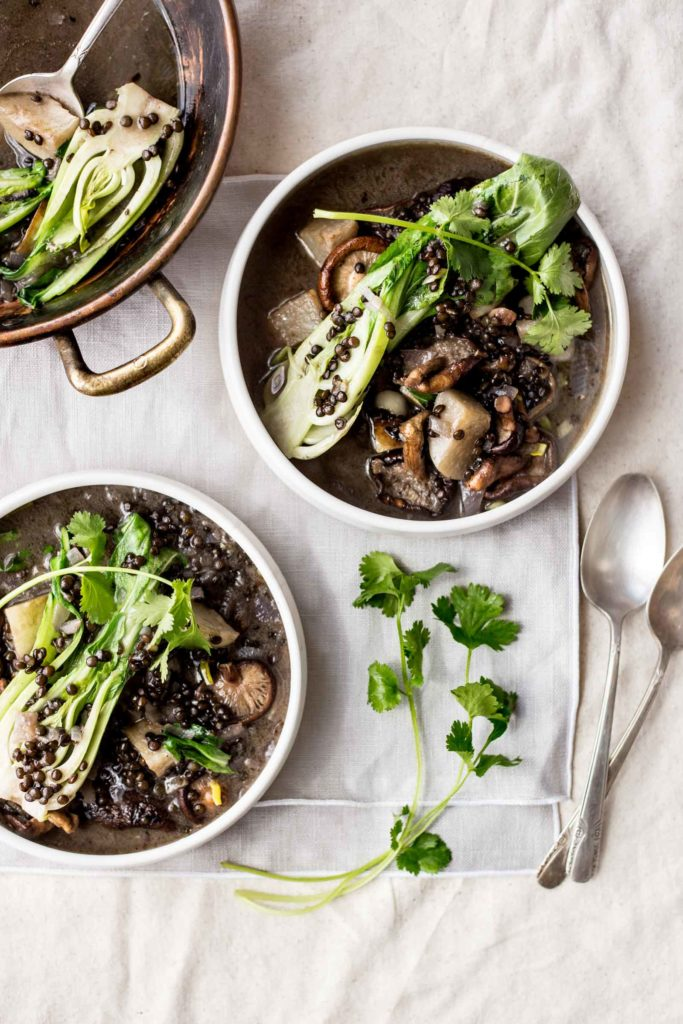 Lentil Stew with Turnips, Bok Choy and Mushrooms