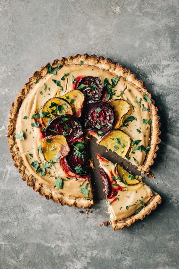 Roasted Beet and Cauliflower Tart with Almond Crust