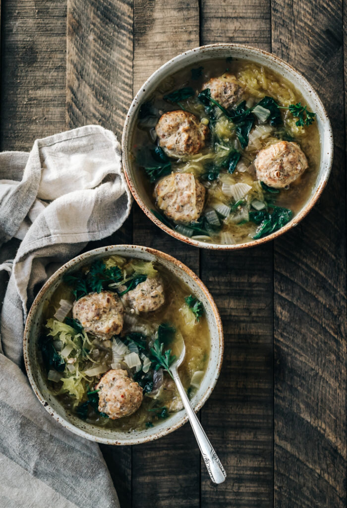 Spaghetti Squash and Meatball Soup
