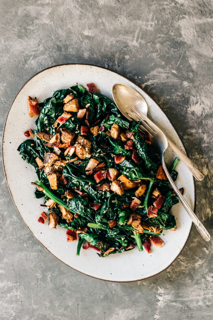 Wilted Spinach with Wild Mushrooms and Bacon