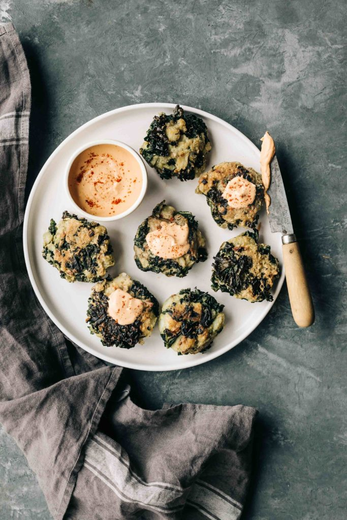 Potato Kale Cakes with Smokey Cashew Cream