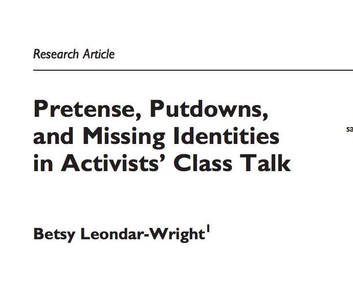 "Read ""Pretense, putdowns and missing identities in activists' class talk"""