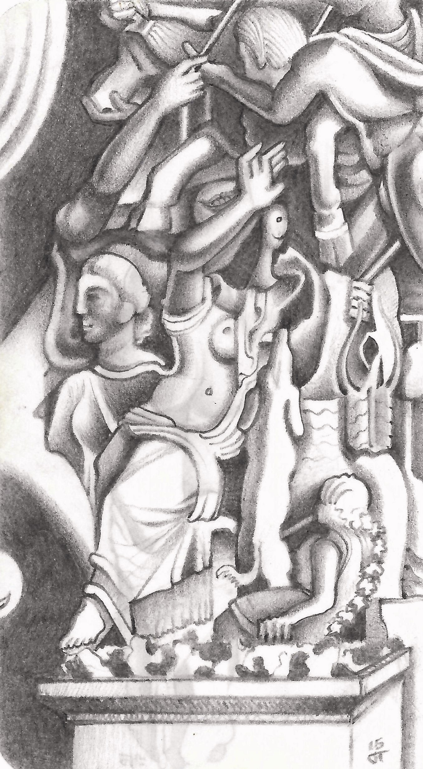 """The Farnese Bull"" Tripoli, 2015, pencil on paper."