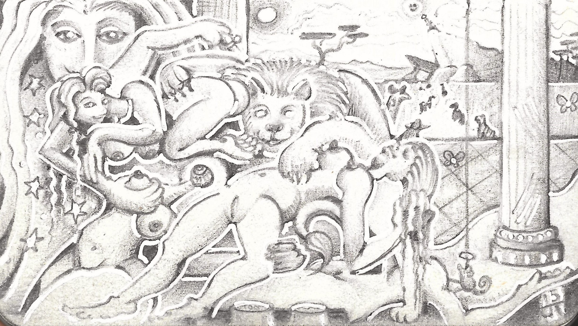 """Lion's Den"" Tripoli, 2015, ink, pencil on paper."