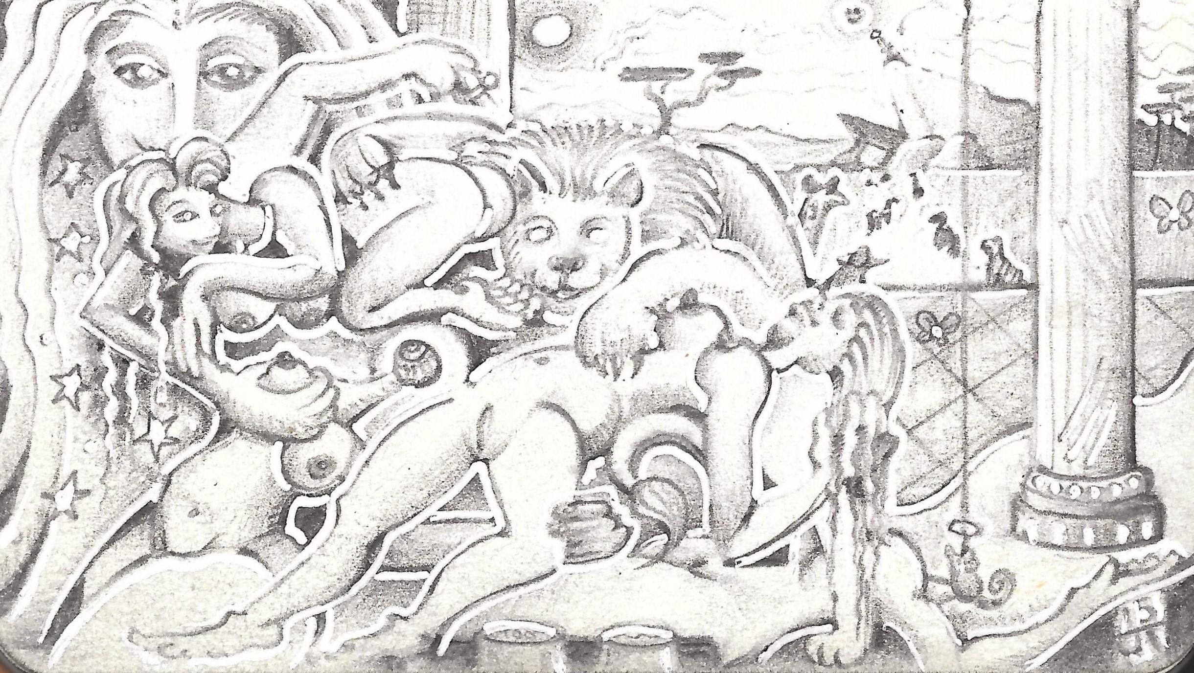 """Lion's Den"" Tripoli, 2015, ink, pencil on paper."
