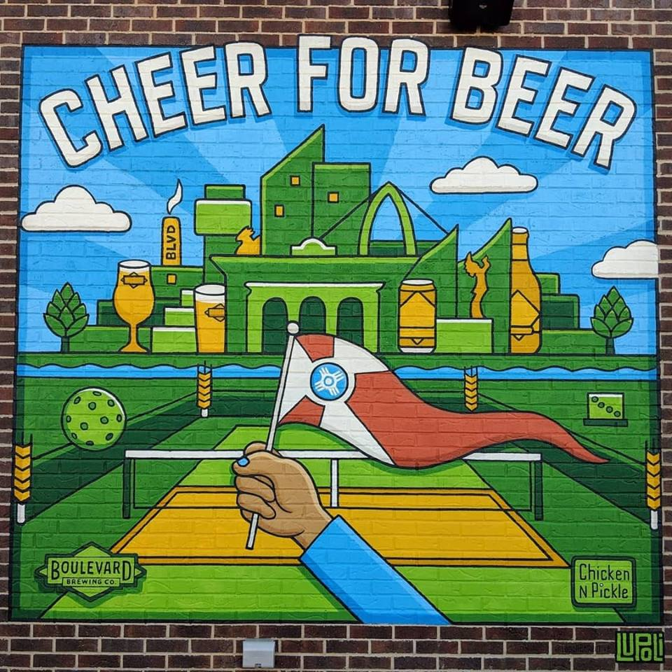 """Cheer for Beer"" Lupoli Collective, 2019, acrylic - Chicken N Pickle Wichita / Boulevard Brewing Company."